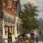Springer C. - Straatje in Monnickendam, olieverf op paneel 25,1 x 19,8 cm, gesigneerd r.o. en gedateerd '80