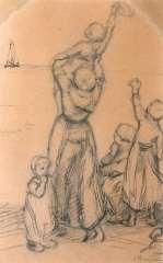 Blommers B.J. - Dag vader (studie), pen en inkt op papier 34,5 x 22 cm , gesigneerd r.o.