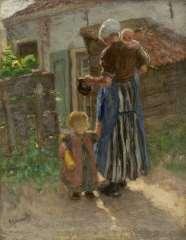 Blommers B.J. - Jonge moeder met kinderen, olie op doek 35,3 x 27,6 cm , gesigneerd l.o.