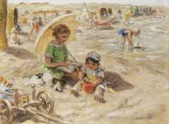 Zoetelief Tromp J. - A day at the beach, oil on canvas 30 x 40 cm, signed l.r. and no the reverse