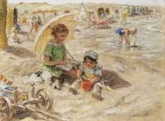 Zoetelief Tromp J. - Een dag op het strand, olie op doek 30 x 40 cm , gesigneerd r.o. en verso