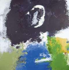 Diederen J. - De Maan III, Acryl op doek 110 x 110 cm , gesigneerd verso en verso gedateerd '92