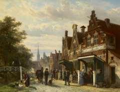 Springer C. - Fantasiegezicht op de Buren, Makkum, olie op paneel 44,8 x 57,3 cm , gesigneerd r.o. en gedateerd 1871