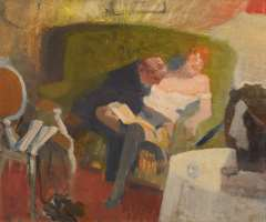 Galema A. - Heer met dame van plezier, olieverf op doek 53,5 x 63,3 cm