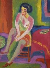 Wiegers J. - Zittend naakt, wasverf op doek 70,4 x 55,4 cm , gesigneerd m.o. en gedateerd '25