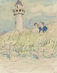 Kamerlingh Onnes H.H. - A young couple in the dunes, Egmond aan Zee,, pen, ink and watercolour on paper 25.7 x 21 cm , signed l.r. and dated ´74