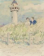 Kamerlingh Onnes H.H. - Paartje in de duinen van Egmond aan Zee, pen, inkt en aquarel op papier 25,7 x 21 cm , gesigneerd r.o. en gedateerd '74