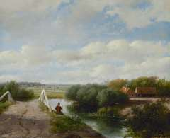 Schelfhout A. - Zomerlandschap met hengelaar, bij Haarlem, olieverf op doek 19,5 x 24,1 cm, gesigneerd l.o. en gedateerd '59