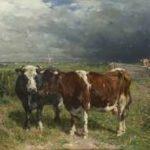 Haas J.H.L. de - Koeien in landschap, olieverf op paneel 79,8 x 100 cm, gesigneerd r.o.