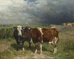 Haas J.H.L. de - Cattle in a pasture, oil on panel 79.8 x 100 cm , signed l.r.