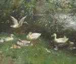 Maris W. - Eenden bij een vijver, olieverf op doek 53,8 x 97,5 cm, gesigneerd l.o.