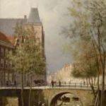 Dommelshuizen C.C. - Gezicht op de Oudegracht met stadskasteel Oudaen, Utrecht, olieverf op doek 28,3 x 21,3 cm, gesigneerd r.o. met initialen en gedateerd '94
