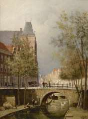 Dommelshuizen C.C. - Gezicht op de Oudegracht met stadskasteel Oudaen, Utrecht, olie op doek 28,3 x 21,3 cm , gesigneerd r.o. met initialen en gedateerd '94