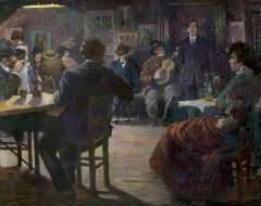 Bloos R.W. - Café chantant, olie op doek 132,5 x 165,8 cm , gesigneerd l.o. en gedateerd 'Paris 09'