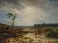 Lieste C. - Heidelandschaft bei Oosterbeek, Öl auf Holzfaserplatte 70,9 x 95,2 cm, signiert l.u.und zu datieren um 1855