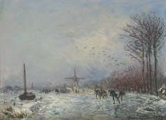 Jongkind J.B. - Hollandse vaart met schaatsers, olieverf op doek 25,2 x 35,3 cm, gesigneerd r.o en gedateerd 1873