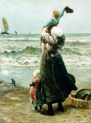 Blommers B.J. - Waving father goodbye, oil on canvas 76 x 58.2 cm , signed l.r.