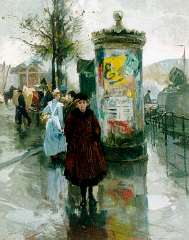 Voorden A.W. van - Reclamezuil en figuren bij de Vierleeuwenbrug in Rotterdam, olieverf op paneel 56,9 x 45,6 cm, gesigneerd r.o. en gedateerd 1918