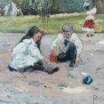 Voorden A.W. van - Spelende kinderen in een park, olieverf op board 22,5 x 32,5 cm, gesigneerd r.o. met initialen