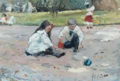 Voorden A.W. van - Children playing in a parc, oil on board 22.5 x 32.5 cm , signed l.r. with initials