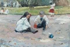 Voorden A.W. van - Spelende kinderen in een park, olie op board 22,5 x 32,5 cm , gesigneerd r.o. ini
