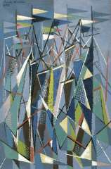 Hunziker F. - Masten en zeilen, olie op doek 90,3 x 60,5 cm , gesigneerd l.b. en gedateerd 9/47