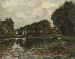 Mondriaan P.C. - Farnstead with long row of trees on the Gein, oil on canvas 35.8 x 45.3 cm , painted in 1905-1907