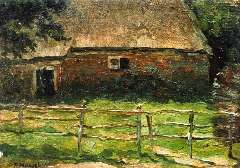 Mondriaan P.C. - A farm behind a fence, oil on panel 20.5 x 29.1 cm , signed l.l. and painted circa. 1904