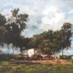 Zwart W.H.P.J. de - Boerenwoning met koeien, olieverf op doek 50,1 x 65,2 cm, gesigneerd r.o.