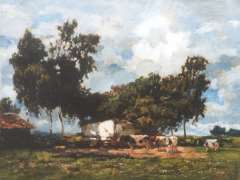 Zwart W.H.P.J. de - Cows near a farm in a sunny landscape, oil on canvas 50.1 x 65.2 cm , signed l.r.