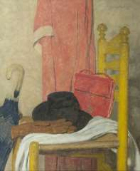 Wouters W.H.M. - Stilleven met hoed, paraplu, tas en handschoenen, olie op doek 75,3 x 62,3 cm , gesigneerd r.b.