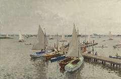 Vreedenburgh C. - Jachthaven aan de Loosdrechtse plassen, olie op doek 59,8 x 89,9 cm , gesigneerd r.o. en gedateerd 1937