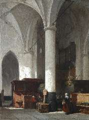 Bosboom J. - Interior of the Dutch protestant church in Hattem, oil on panel 38 x 28.6 cm , signed l.l.