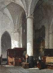 Bosboom J. - Interieur van de Hervormde Kerk te Hattem, zuidelijke zijbeuk, gezien naar het middenschip, olie op paneel 38 x 28,6 cm , gesigneerd l.o.