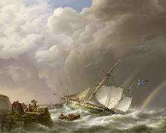 Koekkoek J.H. - Sailing ship off a jetty in stormy weather, oil on canvas 113 x 142 cm , signed l.l. and dated 1827