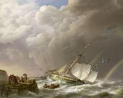 Koekkoek J.H. - Een onstuimige zee met regenboog en een Engelse oorlogskotter, olieverf op doek 113 x 142 cm, gesigneerd l.o. en gedateerd 1827