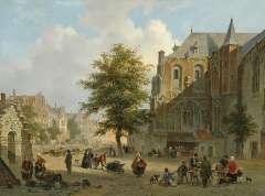 Hove B.J. van - Drukbevolkt marktplein in een hollands stadje, olie op paneel 42,2 x 56,7 cm , gesigneerd r.o. en gedateerd 1852