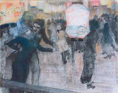 Gestel L. - Op de rolschaatsbaan met Japanse lampions, zwart krijt en pastel op papier 41,5 x 52 cm , gesigneerd r.o. en te dateren ca. 1910-1911