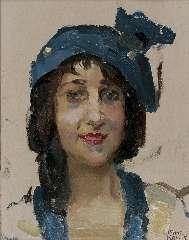 Israels I.J. - Lachende jonge vrouw, olie op paneel 27 x 21,3 cm , gesigneerd r.o.