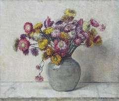 Egter van Wissekerke A.W.E.M. - Stroobloemen, olie op doek 35,3 x 41,7 cm , gesigneerd r.o. en gedateerd 1952