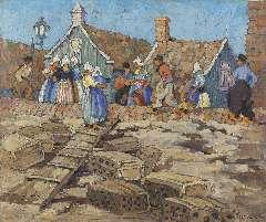 Parke Custis E. - Lege viskaren in de haven van Volendam, olie op doek 51,2 x 61,1 cm , gesigneerd r.o.
