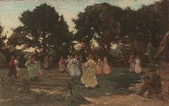 Akkeringa J.E.H. - May-dance (Wolfheze), oil on canvas 29.4 x 46.7 cm , signed l.l. and painted ca. 1906