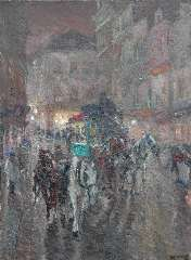Niekerk M.J. - An omnibus driving through the city night, oil on canvas 115.5 x 85.3 cm , signed l.r. and dated 1919