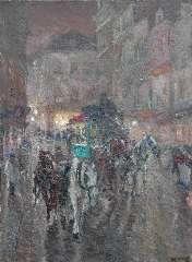 Niekerk M.J. - Omnibus in de stad bij avond, olie op doek 115,5 x 85,3 cm , gesigneerd r.o. en gedateerd 1919