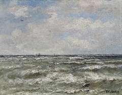 Mesdag H.W. - Op open water, olie op doek 40,2 x 51,3 cm , gesigneerd r.o.