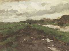 Weissenbruch H.J. - Huiswaarts bij buiig weer, olie op doek op paneel 32,9 x 44,1 cm , gesigneerd r.o.