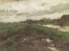 Weissenburch H.J. - Huiswaarts bij buiig weer, olie op doek op paneel 32,9 x 44,1 cm , gesigneerd r.o.