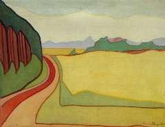 Sluijter J.J.H. - Landschap met rode weg, Blaricum, olie op doek 55,3 x 71,3 cm , gesigneerd r.o. en te dateren ca. 1914
