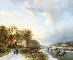 Koekkoek B.C. - Skaters at sunset, oil on panel 34.8 x 42.2 cm , signed l.l. and dated 1835