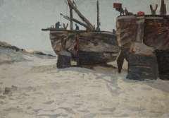 Bartsch W. - Bomschuiten op het strand, Katwijk, olie op doek op karton 34,3 x 49,1 cm , gesigneerd r.o.
